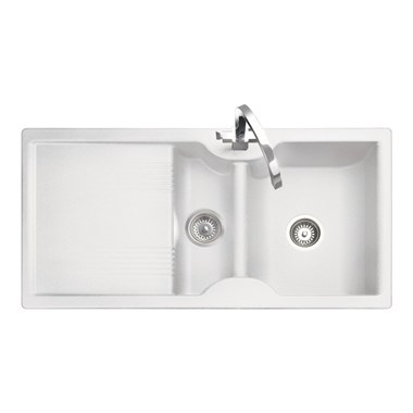 Rangemaster Lunar 1.5 Bowl Neo-Rock White Sink & Waste Kit - Reversible