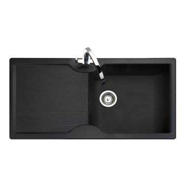 Rangemaster Lunar 1 Bowl Neo-Rock Black Sink & Waste Kit - Reversible