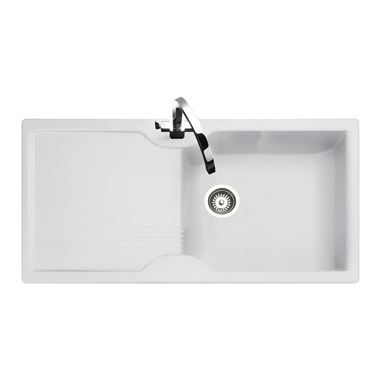 Rangemaster Lunar 1 Bowl Neo-Rock White Sink & Waste Kit - Reversible