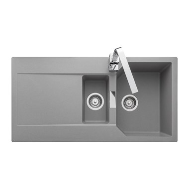 Rangemaster Mayon 1.5 Bowl Igneous Granite Dove Grey Kitchen Sink & Waste Kit with Reversible Drainer - 1000 x 510mm