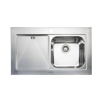 Rangemaster Mezzo 1 Bowl Brushed Stainless Steel Sit On Sink & Waste Kit with Left Hand Drainer - 1000 x 605mm