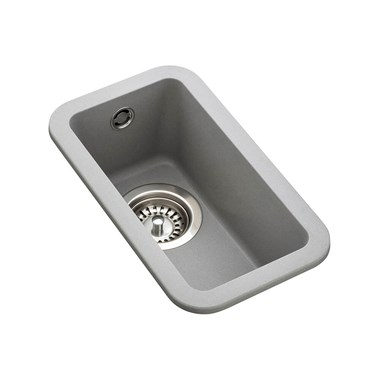 Rangemaster Paragon 0.5 Bowl Dove Grey Granite Composite Undermount Kitchen Sink & Waste Kit - 215 x 378mm