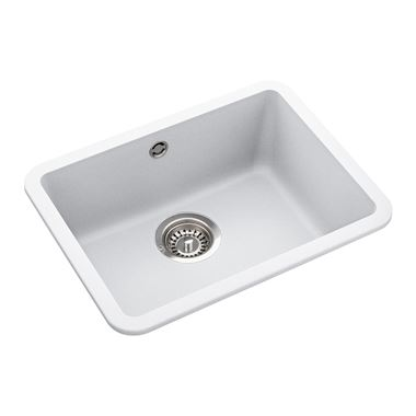 Rangemaster Paragon Compact 1 Bowl Crystal White Granite Composite Undermount Kitchen Sink & Waste Kit - 501 x 377mm