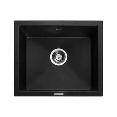 Rangemaster Paragon 1 Bowl Ash Black Granite Composite Undermount Kitchen Sink & Waste Kit - 533 x 457mm