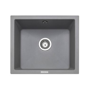 Rangemaster Paragon 1 Bowl Croma Grey Granite Composite Undermount Kitchen Sink & Waste Kit - 533 x 457mm
