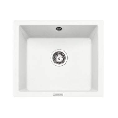 Rangemaster Paragon 1 Bowl Crystal White Granite Composite Undermount Kitchen Sink & Waste Kit - 533 x 457mm