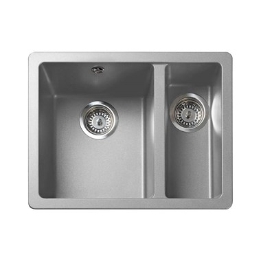 Rangemaster Paragon 1.5 Bowl Dove Grey Granite Composite Undermount Kitchen Sink & Waste Kit - 550 x 430mm