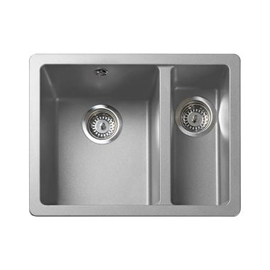 Rangemaster Paragon 1.5 Bowl Dove Grey Granite Composite Inset/Undermount Kitchen Sink & Waste Kit - 550 x 430mm