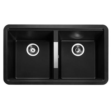 Rangemaster Paragon 2 Bowl Granite Composite Undermount Kitchen Sink & Waste Kit - 824 x 481mm