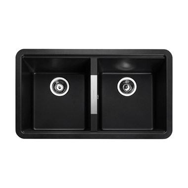 Rangemaster Paragon 2 Bowl Ash Black Granite Composite Undermount Kitchen Sink & Waste Kit - 824 x 481mm