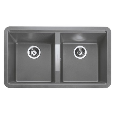 Rangemaster Paragon 2 Bowl Croma Grey Granite Composite Undermount Kitchen Sink & Waste Kit - 824 x 481mm