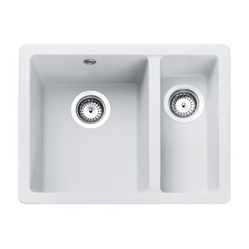 Rangemaster Paragon 1.5 Bowl Crystal White Granite Undermount Kitchen Sink & Waste Kit - 550 x 430mm