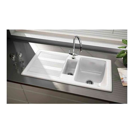 Rangemaster Portland 1 5 Bowl White Fire Clay Ceramic Sink