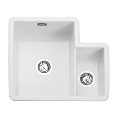 Rangemaster Rustique 1.5 Bowl White Ceramic Undermount Kitchen Sink & Waste Kit with Left Hand Main Bowl - 595 x 520mm