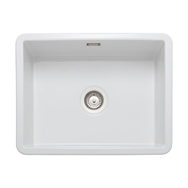 Rangemaster Rustique 1 Bowl Inset/Undermount Fireclay White Ceramic Kitchen Sink & Waste Kit - 598 x 462mm