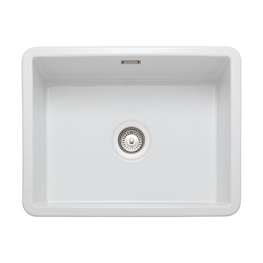 Rangemaster Rustique 1 Bowl Inset Undermount Fireclay White Ceramic Kitchen Sink Waste Kit 598 X 462mm Tap Warehouse