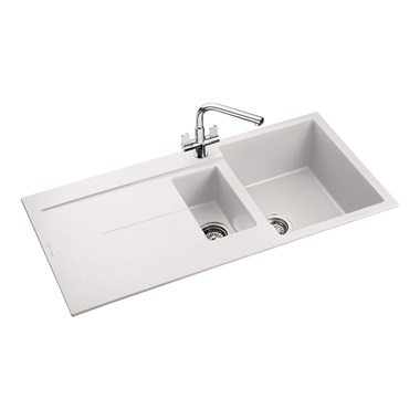 Rangemaster Scoria 1.5 Bowl Igneous Crystal White Sink & Waste Kit - Reversible