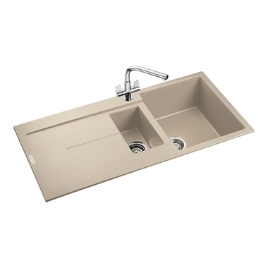 Rangemaster Scoria 1.5 Bowl Igneous Stone Sink & Waste Kit - Reversible