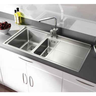 Rangemaster Arlington 1.5 Bowl Polished Stainless Steel Sink & Waste Kit - Left Hand