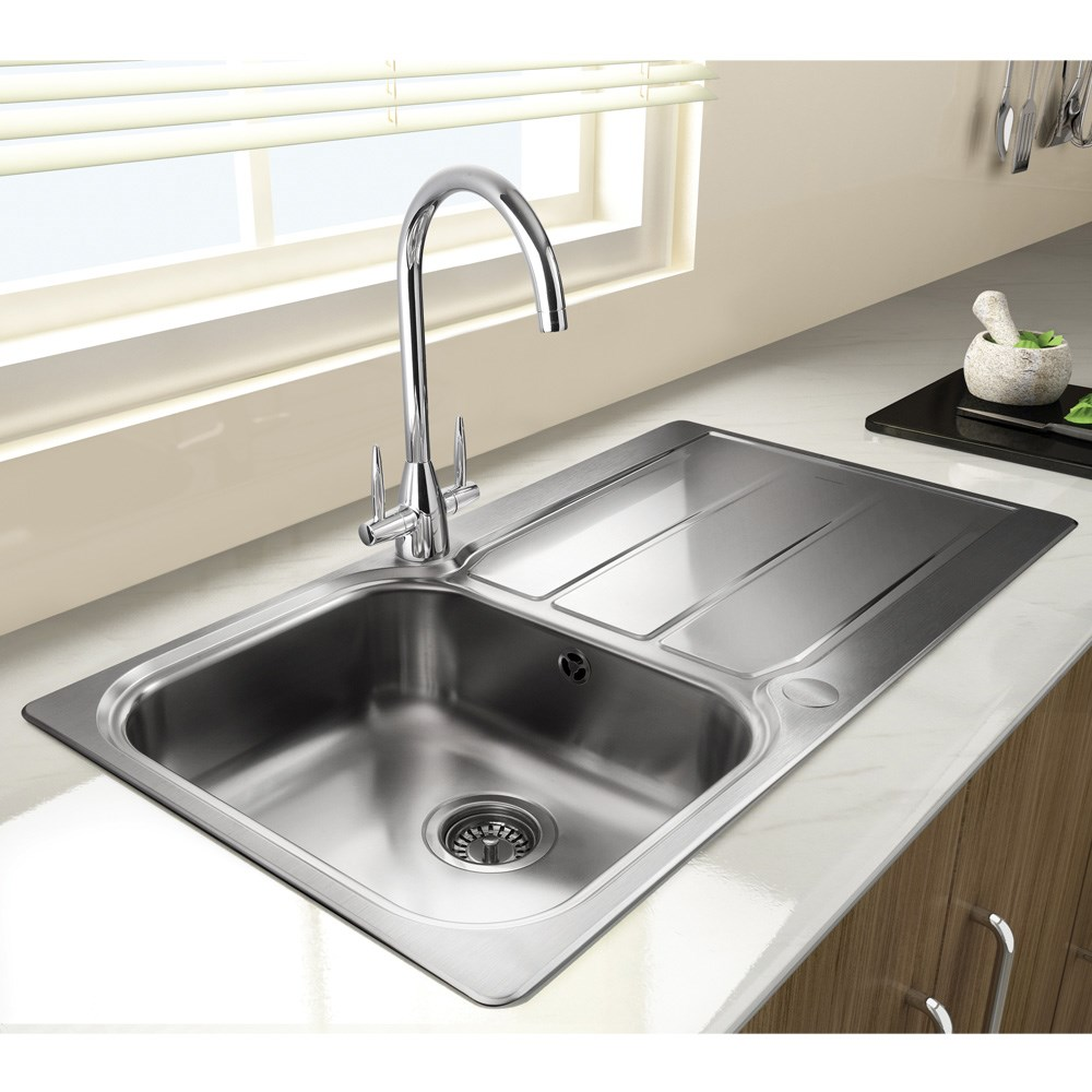 Stainless Steel Kitchen Sink With Edge Plate Square Style Stainless Steel 1 5 Bowl Inset Reversible Drainer Strainer Waste Pipes Clips Small Kitchen Fixtures Kitchen Sinks
