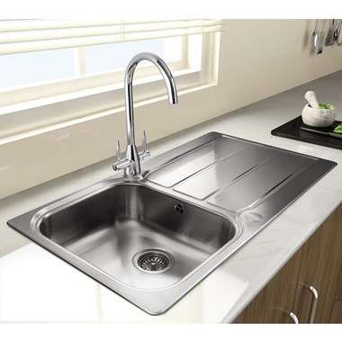 Rangemaster Glendale 1 Bowl Brushed Stainless Steel Sink & Waste Kit with  Reversible Drainer - 950 x 508mm
