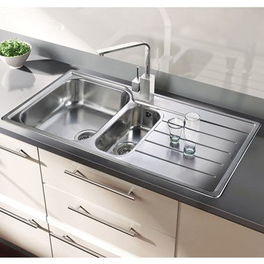Rangemaster Oakland 1.5 Bowl Brushed Stainless Steel Sink & Waste Kit - Left Hand