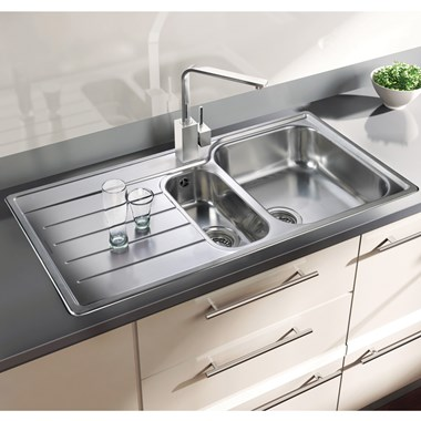 Rangemaster Oakland 1.5 Bowl Brushed Stainless Steel Sink & Waste Kit - Right Hand
