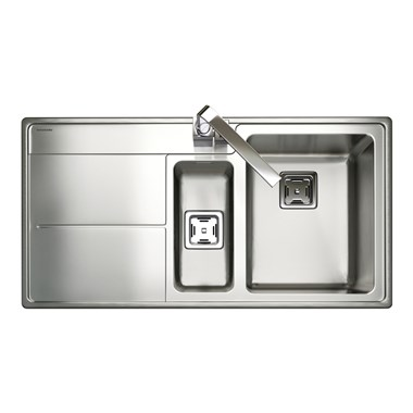 Rangemaster Arlington 1.5 Bowl Polished Stainless Steel Sink & Waste Kit - Right Hand