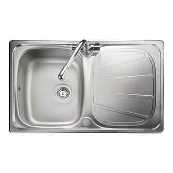 Rangemaster Baltimore Compact 1 Bowl Brushed Stainless Steel Sink & Waste Kit - Reversible