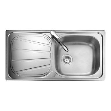 Rangemaster Baltimore 1 Bowl Brushed Stainless Steel Sink & Waste Kit - Reversible