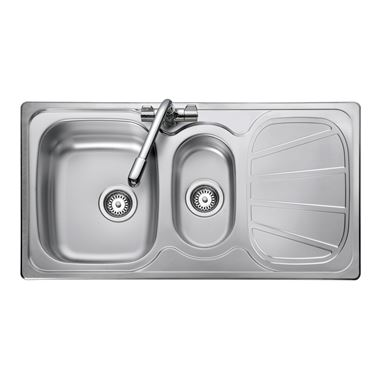 Rangemaster Baltimore 1.5 Bowl Brushed Stainless Steel Sink & Waste Kit - Reversible