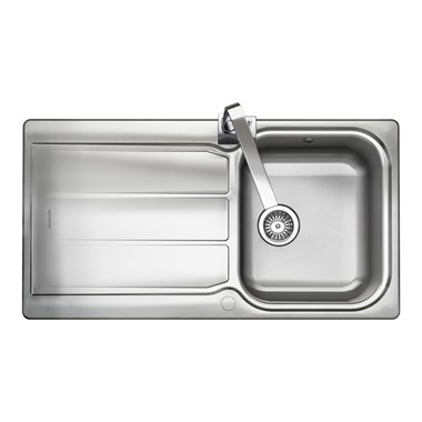 1b9af5207a Rangemaster Glendale 1 Bowl Brushed Stainless Steel Sink & Waste Kit with  Reversible Drainer - 950 x 508mm