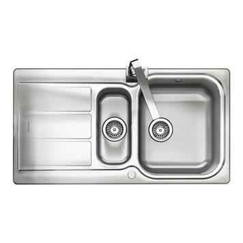 Rangemaster Glendale 1.5 Bowl Brushed Stainless Steel Sink & Waste Kit - Reversible