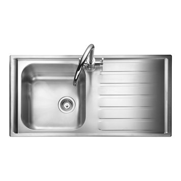 Rangemaster Manhattan 1 Bowl Brushed Stainless Steel Sink & Waste Kit - Left Hand