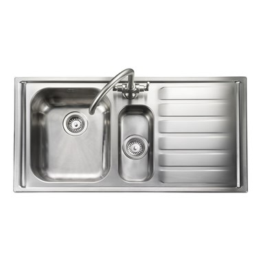 Rangemaster Manhattan 1.5 Bowl Brushed Stainless Steel Sink & Waste Kit - Left Hand