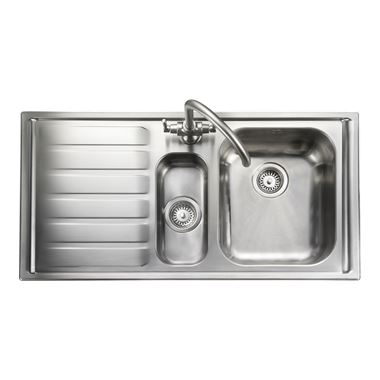Rangemaster Manhattan 1.5 Bowl Brushed Stainless Steel Sink & Waste Kit - Right Hand