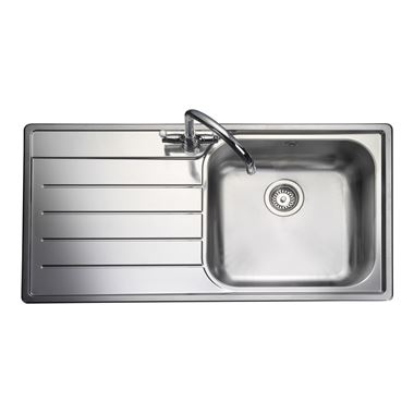 Rangemaster Oakland 1 Bowl Stainless Steel Sink & Waste Kit - Right Hand