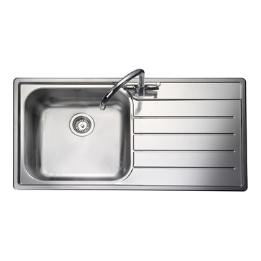 Rangemaster Oakland 1 Bowl Brushed Stainless Steel Sink & Waste Kit - Left Hand