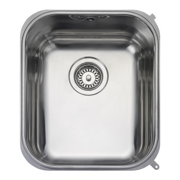 Rangemaster Atlantic Classic 350mm 1 Bowl Stainless Steel Undermount Sink & Waste Kit - Reversible