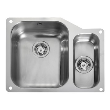 Rangemaster Atlantic Classic 1.5 Bowl Stainless Steel Undermount Sink & Waste Kit - Left Hand