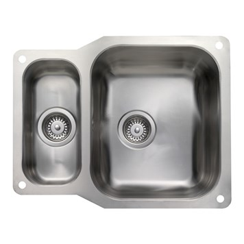 Rangemaster Atlantic Classic 1.5 Bowl Stainless Steel Undermount Sink & Waste Kit - Reversible