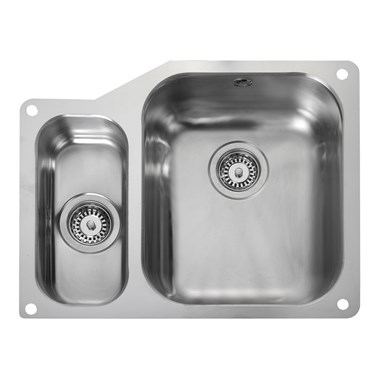 Rangemaster Atlantic Classic 1.5 Bowl Stainless Steel Undermount Sink & Waste Kit - Right Hand