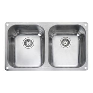 Rangemaster Atlantic Classic 2 Bowl Stainless Steel Undermount Sink & Waste Kit