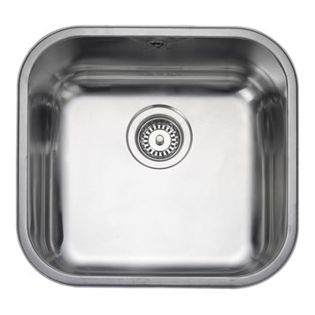 Rangemaster Atlantic Classic 400mm 1 Bowl Stainless Steel Undermount Sink & Waste Kit - Reversible