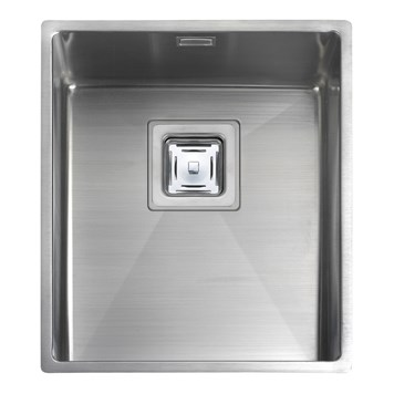 Rangemaster Atlantic Kube 340mm 1 Bowl Stainless Steel Undermount Sink & Waste Kit - Reversible