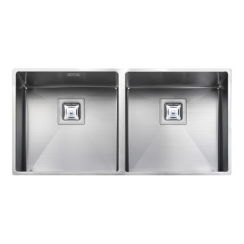Rangemaster Atlantic Kube 2 Bowl Stainless Steel Undermount Sink & Waste Kit