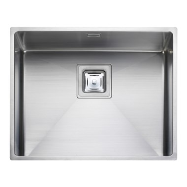 Rangemaster Atlantic Kube 500mm 1 Bowl Stainless Steel Undermount Sink & Waste Kit - Reversible