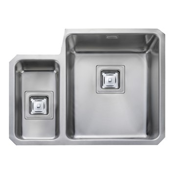 Rangemaster Atlantic Quad 1.5 Bowl Stainless Steel Undermount Sink & Waste Kit - Right Hand