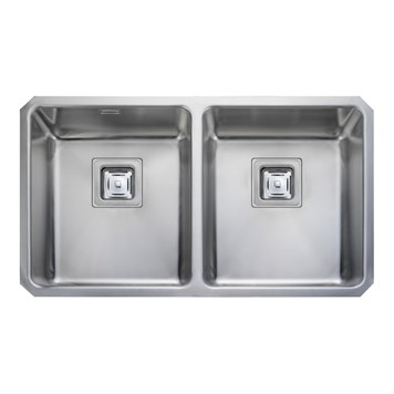 Rangemaster Atlantic Quad 2 Bowl Stainless Steel Undermount Sink & Waste Kit