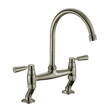Rangemaster Traditional Belfast Bridge Kitchen Sink Mixer Tap - Brushed Nickel